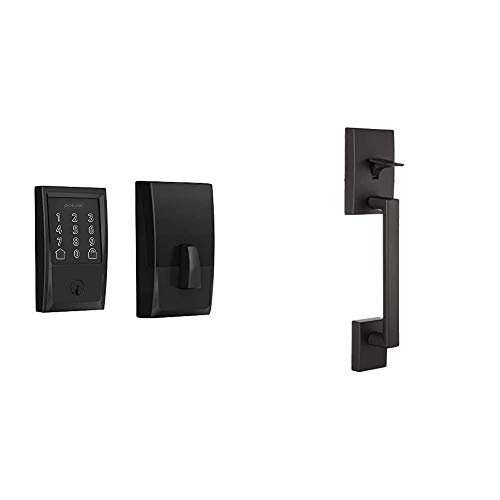 Schlage Lock Company BE489WB CEN 622 Schlage Encode Smart WiFi Deadbolt with Century Trim in Matte Black, Lock & Century Front Entry Handle and Latitude Interior Lever with Century Trim (Matte Black)