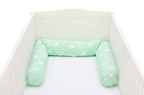 Fillikid Bettwurm/Bettschlange 190 cm/Bettrolle maschinenwaschbar/Nestchenschlange für Beistellbett und Babybett/Bezug: 100% Baumwolle, Design:Krone mint