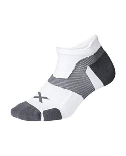 2XU Unisex's Vectr Cushion No Show Socks, White/Grey, Small