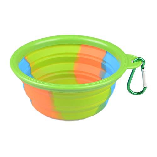 8in1 Faltbare Hundenapf Food Grade Silikon BPA frei Faltbare erweiterbare Haustier Katzenfutter Wasser Fütterung tragbare Travel Bowl Free Karabiner,Green