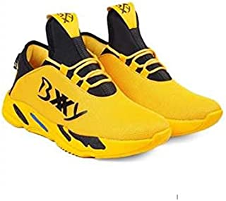 KT Traders Solid Reguler Mesh Lace-Up On Style for Easy Sport Shoes (KT Traders-72-Yellow-10)
