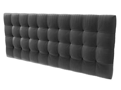 LA WEB DEL COLCHON - Cabecero tapizado Manhattan para Cama de 210 (220 x 70 cms) Gris Oscuro Textil Suave | Cama Juvenil | Cama Matrimonio | Cabezal Cama |