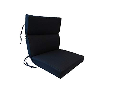 Suntastic Indoor/Outdoor Navy Textured High Back Dining Chair Cushion for Patio Furniture