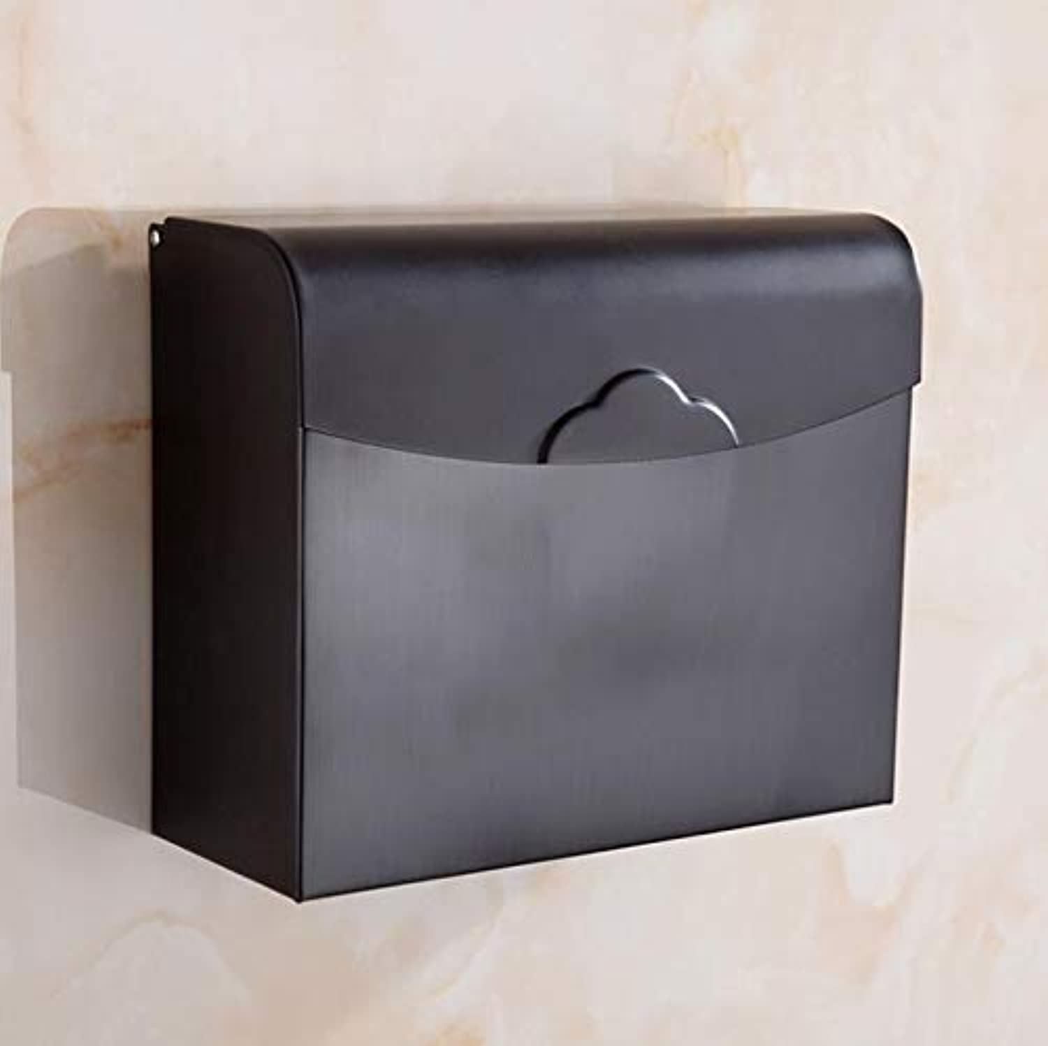 LUDSUY Paper Holders Antique∕Black Toilet Paper Box Wc Paper Rack Waterproof Closed Cover Bathroom Accessories Wall Roll Holder,F