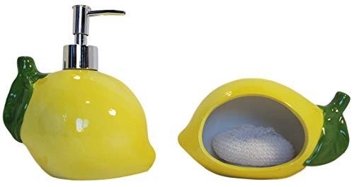 CalGals Lemon Shaped Scrubbie Sponge Holder Includes Scrubby Pad Ceramic Lemon Shaped Soap Dispenser- Lotion Dispenser for Kitchen or Bathroom Countertops