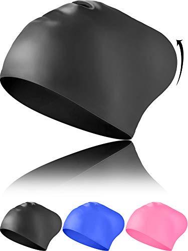 Geyoga Long Hair Swim Caps Designed for Curly Hair, Dreadlocks, Weaves, Adult Woman and Men Waterproof Swimming Cap (Black)