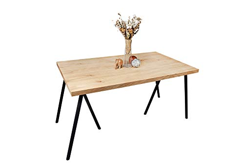 Gozos Trileg Massiver Esstisch aus Eichenholz (140x80cm) Metalbeine schwarz, Industriedesign Unikat, Esszimmertisch Eiche
