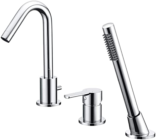 3 Hole Deck Mount Roman Tub Faucet with Hand Shower, Solid Brass Chrome Finish Valve Included