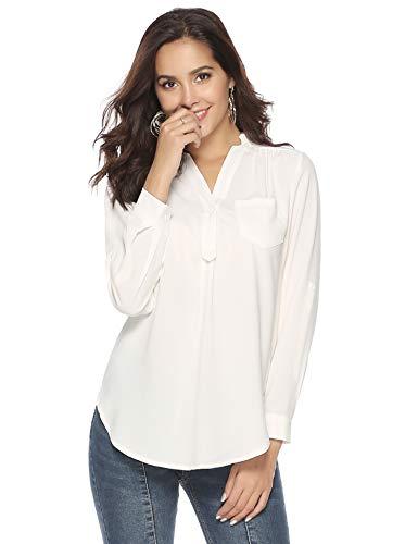 Chemisier Femme Col V Blouse Haut Manches Longues Tunique Ample Fluide Élégant Mousseline de Soie Chic Casual Vintage, Blanc, XL