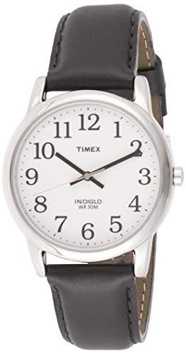 Timex T20501 Orologio da Polso da Uomo, Pelle, Argento/Nero