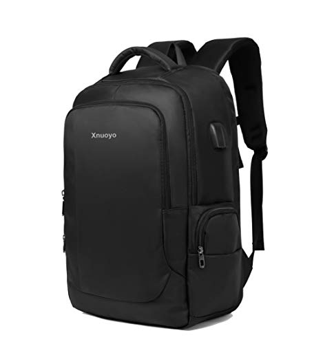 Xnuoyo 17,3 Zoll Wasserdicht Laptop Rucksäcke Herren, 55 Liter Groß Kapazität Notebooktasche Reflektierende Schulrucksack Business Rucksack mit USB Ladeanschluss für Mädchen und Jungen (Schwarz)