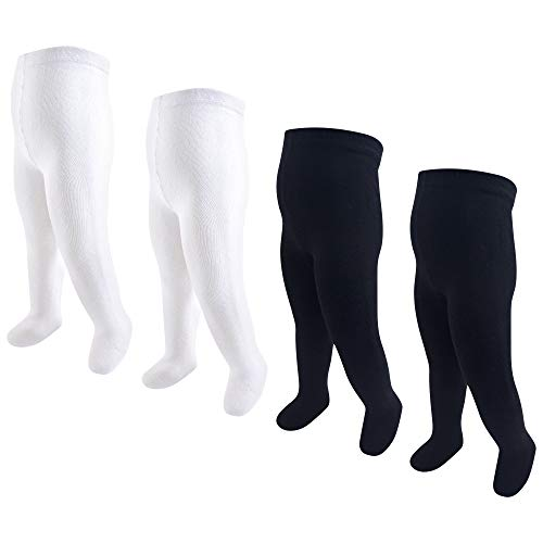 Hudson Baby Baby and Toddler Girl Cotton Rich Tights, Black White, 18-24 Months