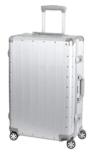 Alumaxx 45174 - Reisetrolley Auriga, Reisekoffer mit beidseitiger Packmöglichkeit, Rollkoffer aus Aluminium, Trolleykoffer mit 4 doppelten 360° Leichtlaufrollen, silberner Koffer ca. 65 x 40 x 24 cm