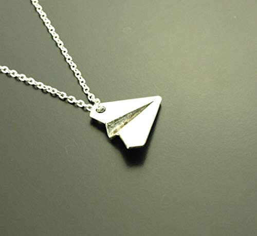 Kette Origami Papier Flieger Flugzeug Anhänger silbern Juvelato