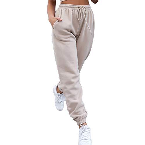 Women's Casual Loose Sweatpants, High Waist Drawstring Solid Color Training Jogger Pants (Khaki, Small)