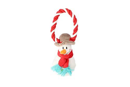 Dingo Plüsch Hundespielzeug Schneemann 18 cm mit einem Seil, Geschenk für einen Hund Weihnachten Spielzeug mit einem Quietscher 17460