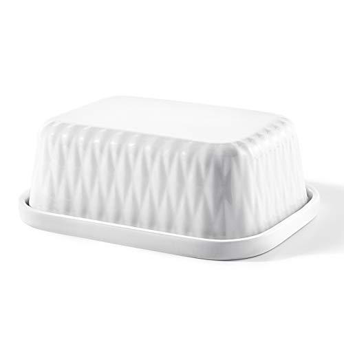 Sweese 313.101 Butterdose mit Deckel, Hochwertig Porzellan Butterschale, für 250 g Butter, Weiß