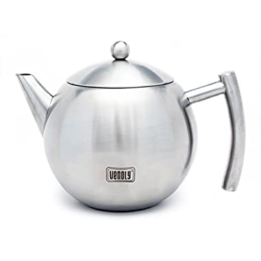 Venoly Stainless Steel Tea Pot With Removable Infuser For Loose Leaf and Tea Bags, Dishwasher Safe and Heat Resistant, 1.5 Liter