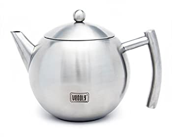 Venoly Stainless Steel Tea Pot With Removable Infuser For Loose Leaf and Tea Bags Dishwasher Safe and Heat Resistant 1.5 Liter