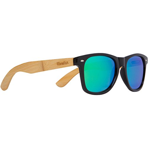 Woodies Bamboo Wood Sunglasses with Green Mirror Polarized Lens