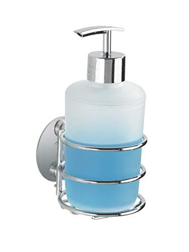 WENKO Turbo-Loc® Seifenspender, Befestigung ohne bohren, nachfüllbarer Pumpspender aus weiß satiniertem Kunststoff & chromfarbenem Pumpknopf, hochwertige Chrom-Halterung, 285 ml, 7,5 x 16,5 x 9 cm