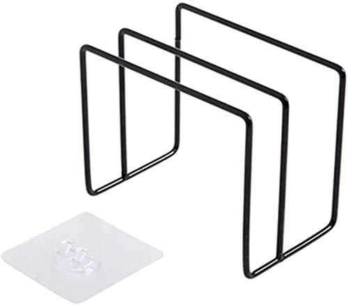 GCX Tabla de cortar de hierro con tapa para estante de cocina, organizador de almacenamiento, gancho para puerta, cuchara para pan, accesorio para herramientas (negro) resistente al agua