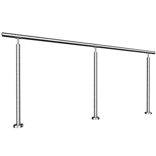 HUERO Edelstahl Handlauf freistehend   Länge 2,0 m Länge   aufgeschraubt   aufgesetzte Handlaufstütze