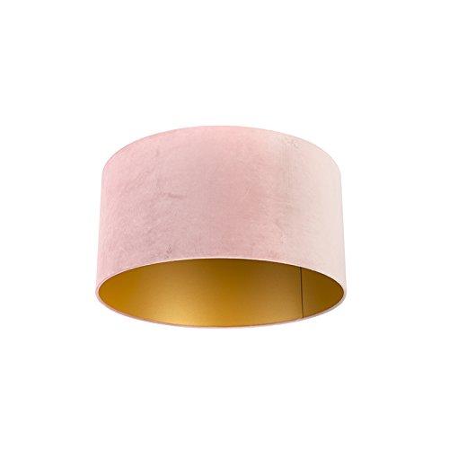QAZQA Baumwolle Velour Lampenschirm pink 50/50/25 mit Gold/Messingener Innenseite, Rund gerade Schirm Pendelleuchte,Schirm Stehleuchte