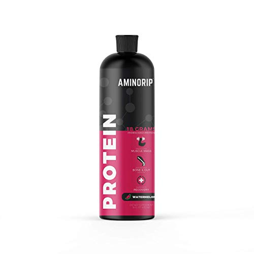 Liquid Protein Hydrolyzed by Aminorip. 18 Grams, 16 oz, No Fat, Sugar Free, No Carbs. Predigested Hydrolysate Supplement. Supports Recovers Muscles, Bones and Joints, Made in USA (Watermelon)