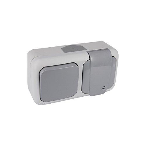VIKO Palmiye–Schalter 1Schuko 2-polig + Erde IP54Deckel Horizontal Grau