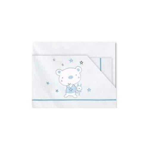 Pirulos Osito Stars Maxi-laken, flanel, blauw
