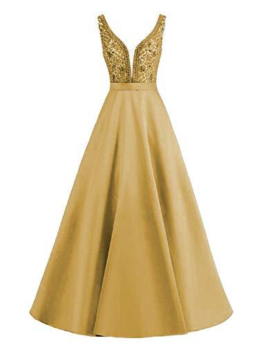 HUINI Abendkleider Damen Satin Ballkleider A-Linie Hochzeitskleider Lang Prinzessin Maxikleider Ärmellos Glitzer Gold 40