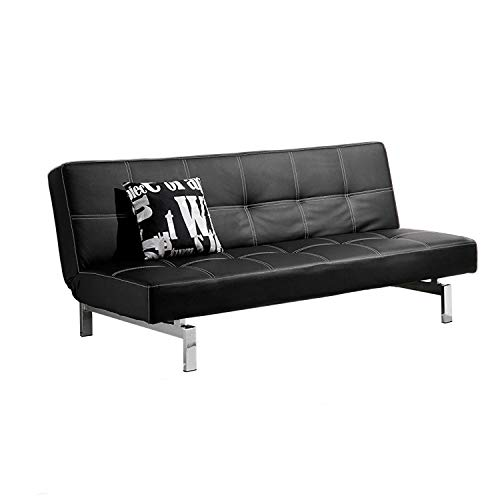 Chic, Sofa Cama, Sofa con Sistema Clic clac, Sofa Tapizado, Acabado en Simil Piel Negro y Patas Cromadas, Medidas: 180 cm (Ancho) x 85/105 cm (Fondo) x 80 cm (Alto)