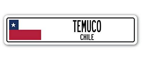 Señal de calle de New Temuco Chile con bandera de Chile, 4