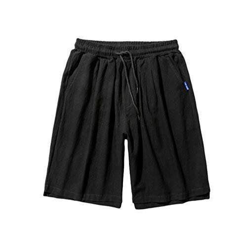 Yuanu Shorts Hombre Secado Rápido Traje De Baño Playa Rodilla Larga Pantalones Verano Casual Suelto Cordón Impermeable Pierna De Corte Cuadrado Pantalones Cortos Negro 5XL