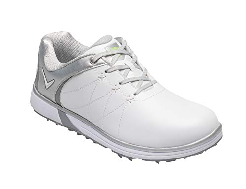 Callaway Women's Halo Pro Waterproof Spikeless Golf Shoe, White Silver, 10.5
