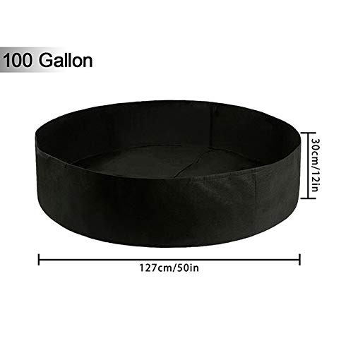 Angmile Plant Grow Bags 50 Gallon 100 Gallon Non-Woven Felt Material Grow Bucket/Aeration Fabric Pots w Outdoor Garden Latio Lawn Supplies