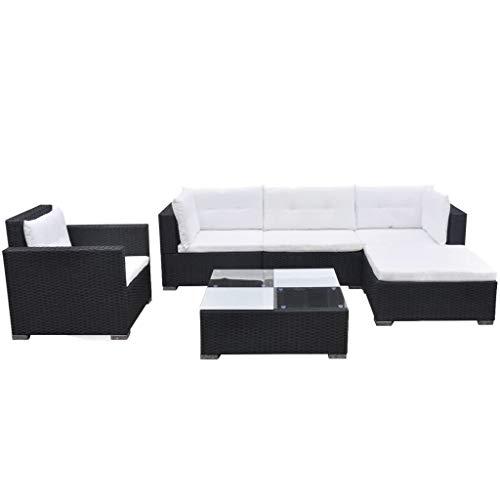 vidaXL Gartenmöbel 6-TLG. mit Auflagen Sitzgruppe Sitzgarnitur Sofa Lounge Gartensofa Gartenset Rattanmöbel Sofagarnitur Poly Rattan Schwarz