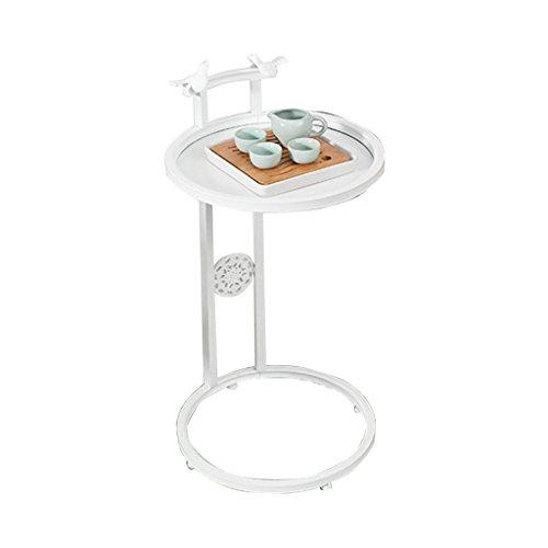 XZGang Iron Art Petite Table Basse, Coin De Canapé De Balcon Quelques Table D'angle Côté Ronde Simple Côté Armoire Latérale 40 * 70CM vie simple (Couleur : Blanc)