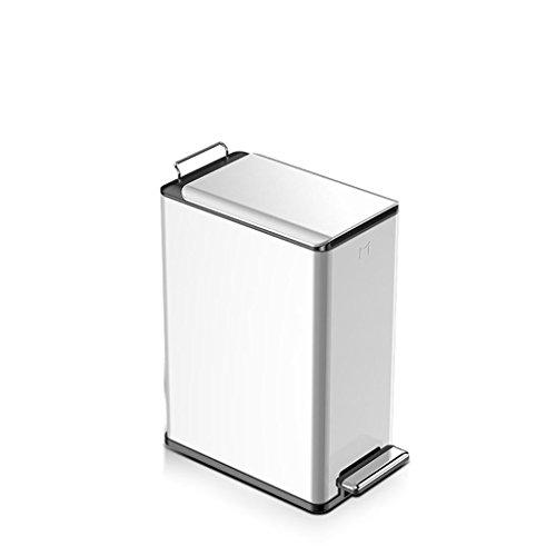 LHY Durable Couvert Pied Poubelle Maison Salon Chambre Salle de Bain Cuisine rectangulaire Plat pédale étroite Type Mode (Color : White, Size : 9L)