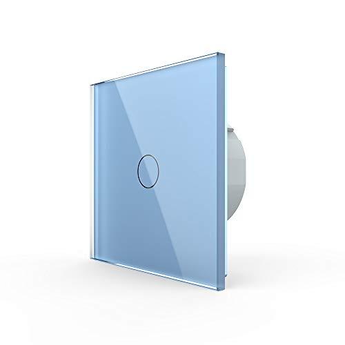 LIVOLO Wechselschalter Kreuzschalter Touch VL-C701S-19 Blau Bunt Lichtschalter Licht Schalter Wandschalter ein Fach an aus Glasrahmen Glas Blende