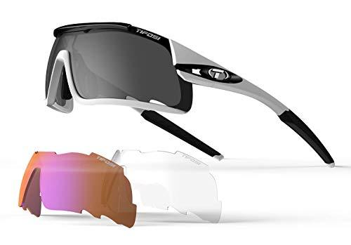 Tifosi Davos Unisex Erwachsene Sonnenbrille mit austauschbaren Gläsern, Weiß/Schwarz, Einheitsgröße