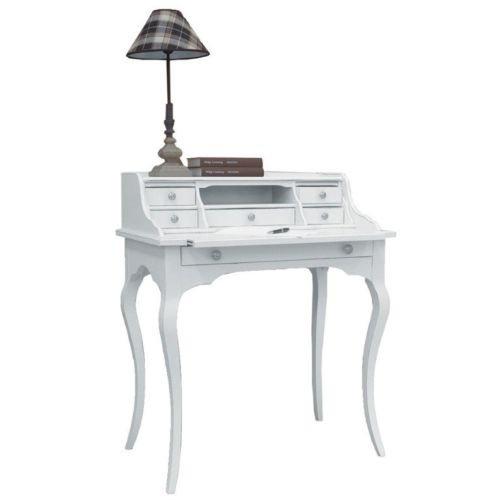 Bureau en bois Art Povera avec tiroir et 6 tiroirs laqué blanc