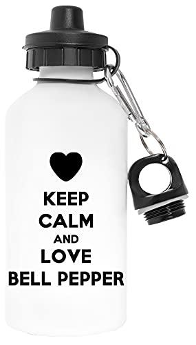 Keep Calm And Love Bell Pepper Libre de Contaminantes Blanco Botella De Agua Aluminio Para Exteriores Pollutant Free White Water Bottle Aluminium For Outdoors