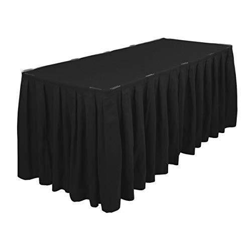 Trimming Shop Plissiert Tisch Rock mit Nylon Verschluss Polyester Tuch Easy Aufsatz Maschinenwaschbar und Trockner Freundlich - Geburtstagsfeiern, Hochzeiten und Formale Feiern - Schwarz, 21 Feet