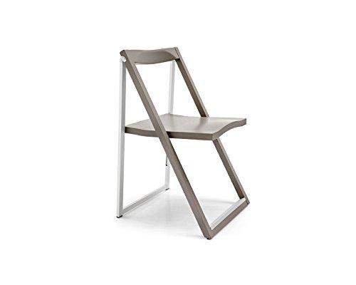 Calligaris Matt Taupe Wood and Aluminium Folding Chair Skip