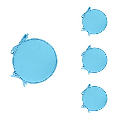 Monbedos - 4 cuscini da seduta per interni, rotondi, per sedia, divano, imbottiti, colore: azzurro cielo