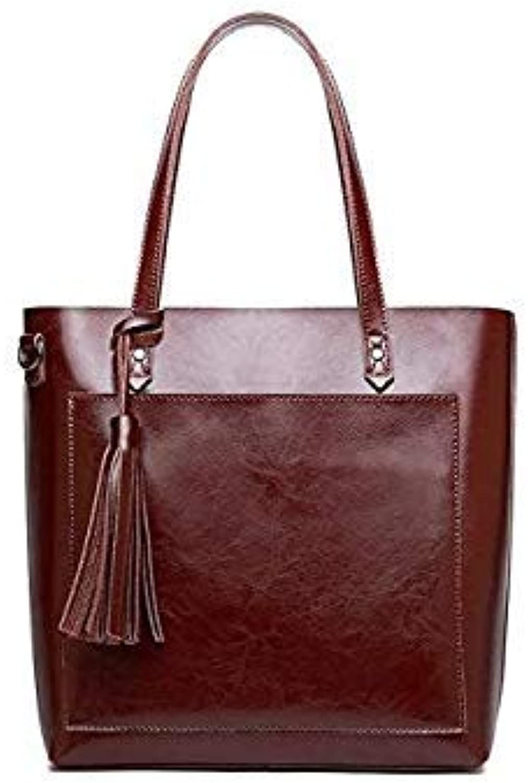 Vintage Genuine Leather Oil Wax Cowhide Shopping Bucket Women Shoulder Bags Handbag Cross Body Messenger Female Bag Purse Coffee