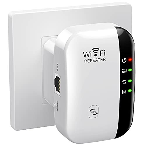 WiFi Extender Signal Booster Up to 2640sq.ft The Newest Generation, Wireless Internet Repeater, Long Range Amplifier with Ethernet Port, Access Point, 1-Tap Setup, Alexa Compatible N300