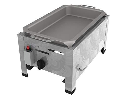 ChattenGlut Professional Gastrobräter 1-flammig - freistehendes Tischgerät aus Edelstahl mit Stahlbrenner - 3,6 kW Gasbräter regelbar für Flüssiggas, mit Pfanne, 340x530x270 mm,